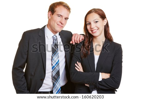 Portrait of two happy business people in a suit