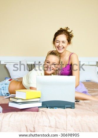 College students doing homework together