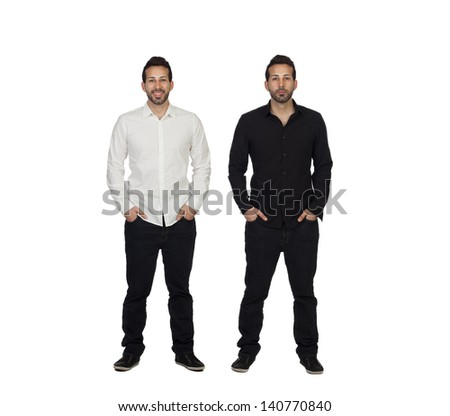 Portrait Of Two Identical Man Isolated Over White Background - stock photo