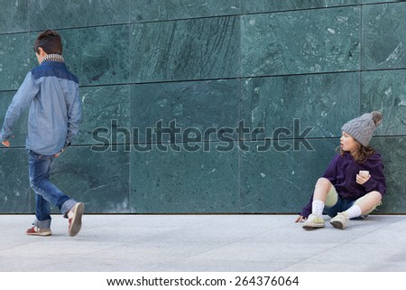portrait of two kids, casual clothing, outdoors - stock photo