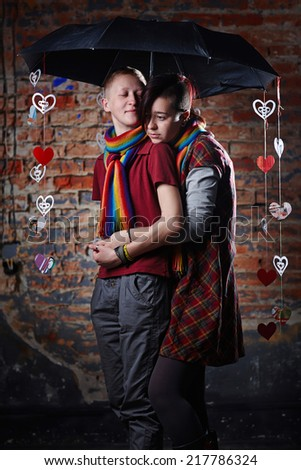 Portrait of two lesbian woman, in love couple. Love Concept - stock photo