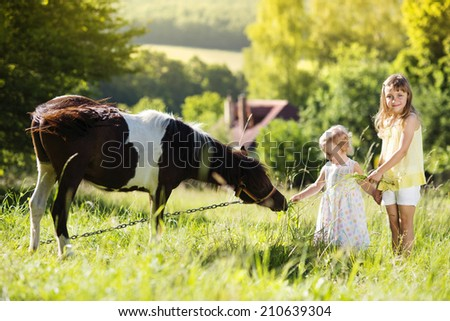 Portrait of two little sisters having fun at countryside outdoors, feeding pony - stock photo