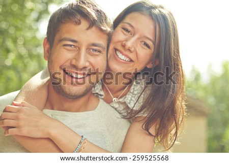 Portrait of two loving people - stock photo
