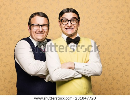 Portrait of two male nerds - stock photo