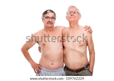 Portrait of two naked elderly men, isolated on white background.