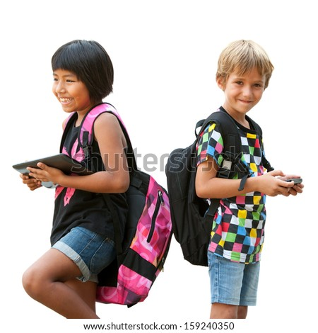 Portrait of two schoolkids standing with tablet and smart phone.Isolated on white. - stock photo