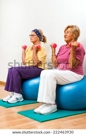Portrait of two Senior women exercising muscles with weights in health club.