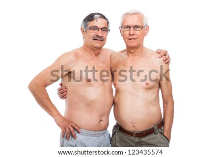 Portrait of two shirtless elderly men, isolated on white background.