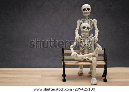 Portrait of two skeletons - stock photo