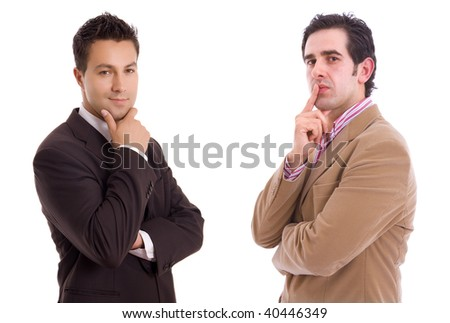 Portrait of two young business man, isolated on white background