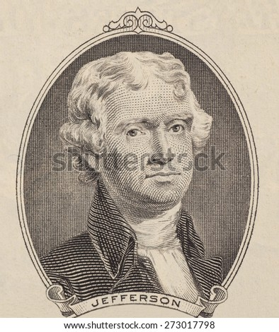 Portrait of  U.S. president Thomas Jefferson
