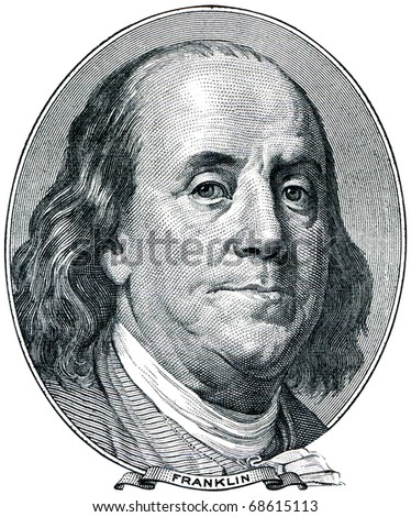Portrait of U.S. statesman, inventor, and diplomat Benjamin Franklin as he looks on one hundred dollar bill obverse. - stock photo