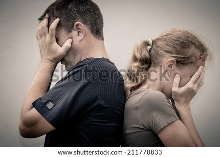 Portrait of unhappy couple not speaking after having dispute. Concept  of unhappiness family.