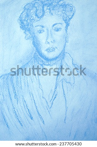 Portrait of unknown woman. Soft pastels hand-drawn illustration in blue tones. - stock photo