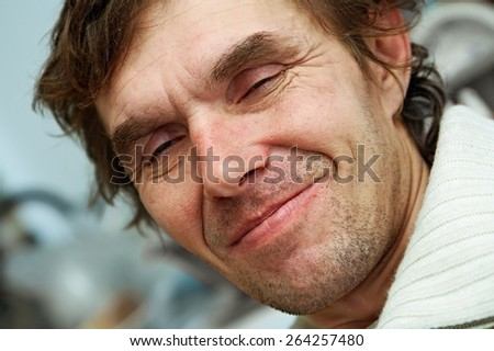 portrait of unshaven drunk men - stock photo