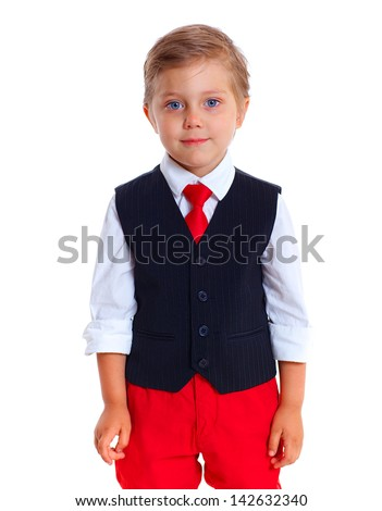 Portrait of upset schoolboy. Isolated on a white background - stock photo