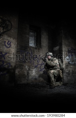 portrait of us ranger at night in city - stock photo