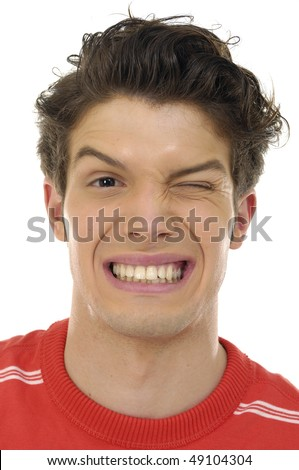 Portrait of very amazed, frightened man with open mouth. - stock photo