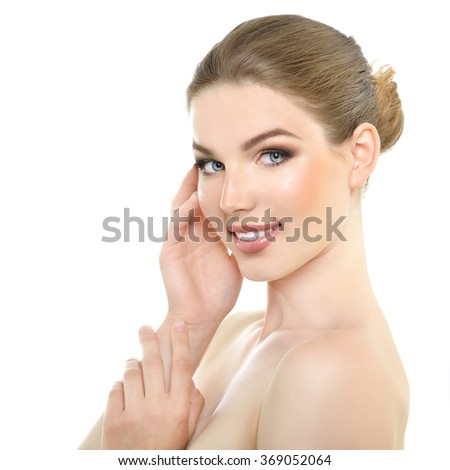Portrait of very pretty young woman. Health care, spa, natural beauty beauty treatment, body care concept. - stock photo