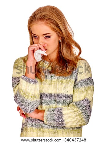 Portrait of very sad girl holding  handkerchief. Colds, allergies or depression. Isolated. - stock photo
