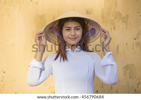 Portrait of vietnam girl with traditional dress