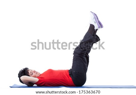 Portrait of vigorous senior woman during fitness