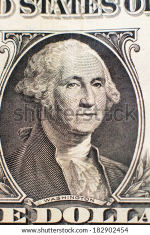Portrait of Washington on the dollar used as background