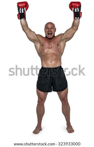 Portrait of winning boxer with arms raised against white background - stock photo