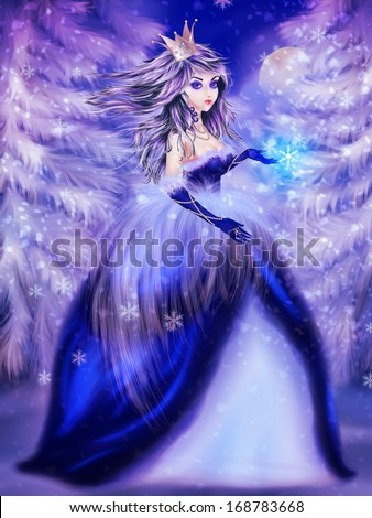 Portrait of winter princess in blue dress over snowy forest background.