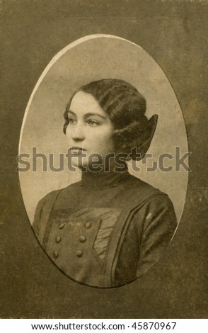Portrait of woman about 1910 - stock photo