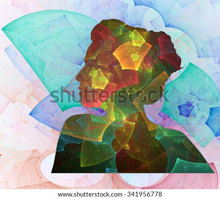 Portrait of Woman abstract illustration - stock photo