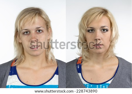 Portrait of woman before and after make up - isolated photo - stock photo