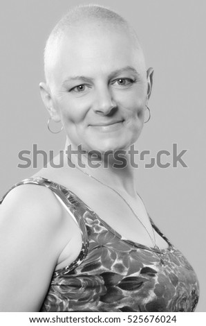 Portrait of woman breast cancer survivor after successful chemotherapy.