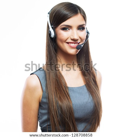 Portrait of woman customer service worker, call center smiling operator with phone headset - stock photo