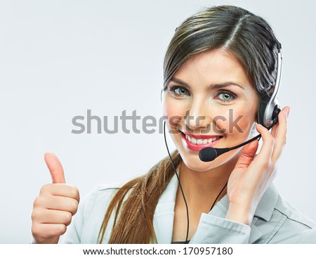 Portrait of woman customer service worker, call center smiling operator with phone headset isolated on white background - stock photo