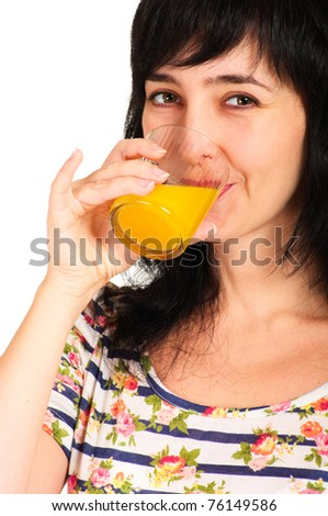Portrait of woman drinking orange juice glass isolated on white
