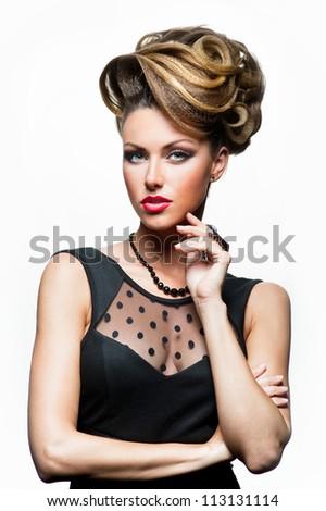 Portrait of woman in black dress - stock photo