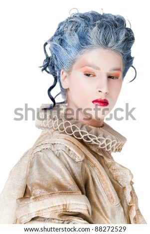 Portrait of woman in medieval costume looking sad, isolated on white
