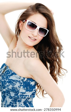 portrait of woman in sunglasses - stock photo