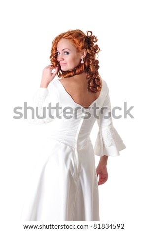 portrait of woman in white wedding dress, isolated on white - stock photo