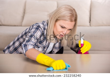 Portrait of woman is doing some cleaning work in the house. - stock photo