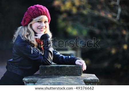 Portrait of Woman Outdoors in Winter
