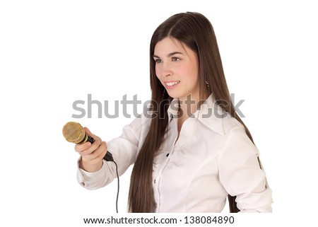 Portrait of woman reporter with microphone ask questions during an interview - stock photo