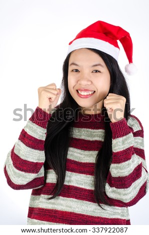 Portrait of woman smile and  wearing santa hat on white background,Christmas concept