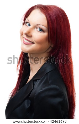 Portrait of woman smiling and look at camera isolated on white - stock photo