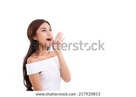 portrait of woman speaking, shouting, communicating, telling you something on white isolated background