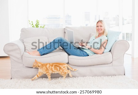 Portrait of woman using laptop on sofa while cat passing by at home - stock photo