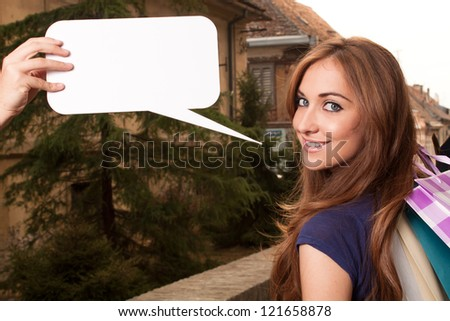 Portrait of woman who calls to shopping - stock photo