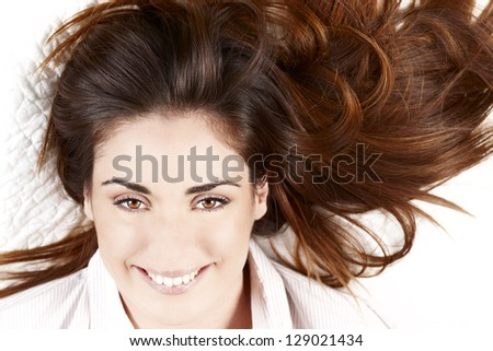 portrait of woman with Healthy Long Hair - stock photo