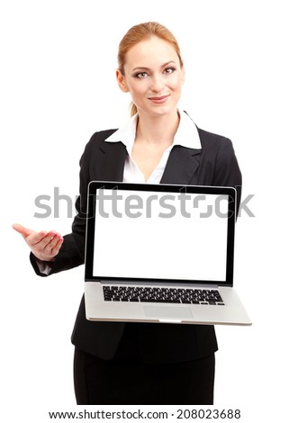 Portrait of woman with laptop, isolated on white - stock photo